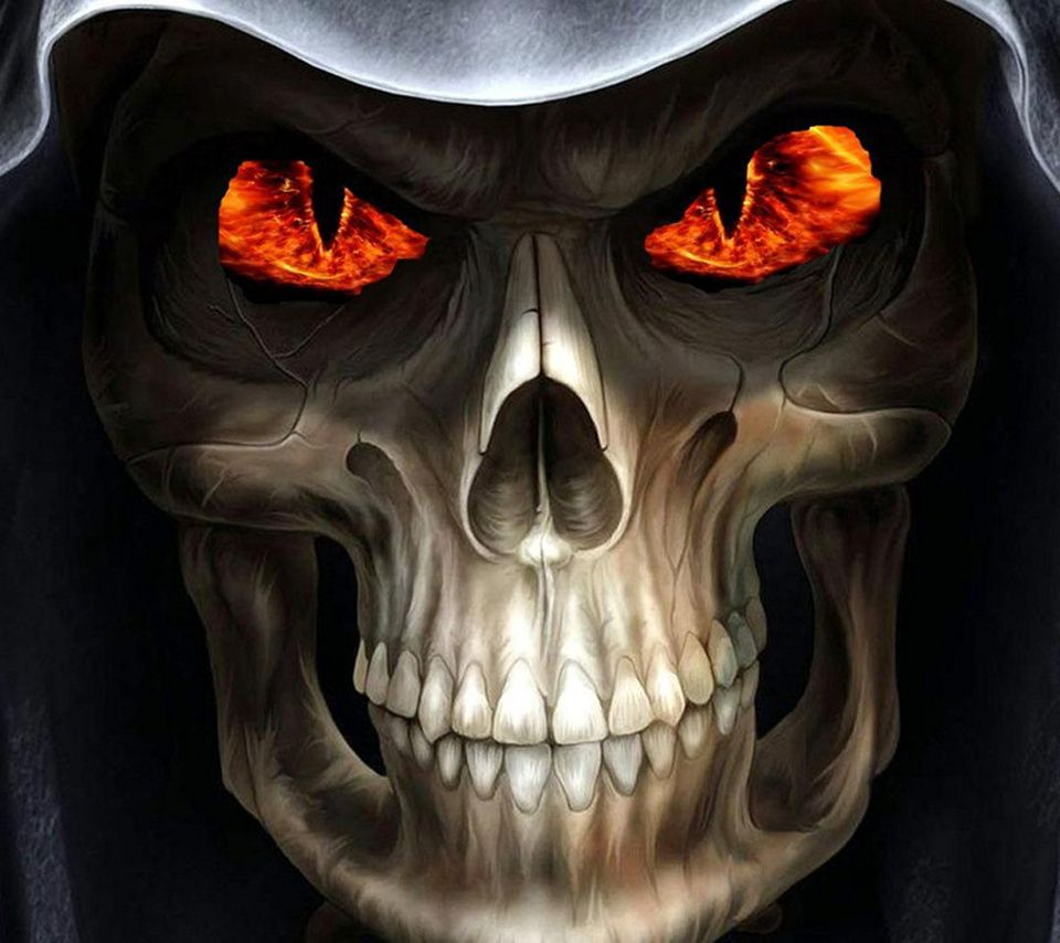 Flames Skull_25,960x854,854x960,wallpaper,background